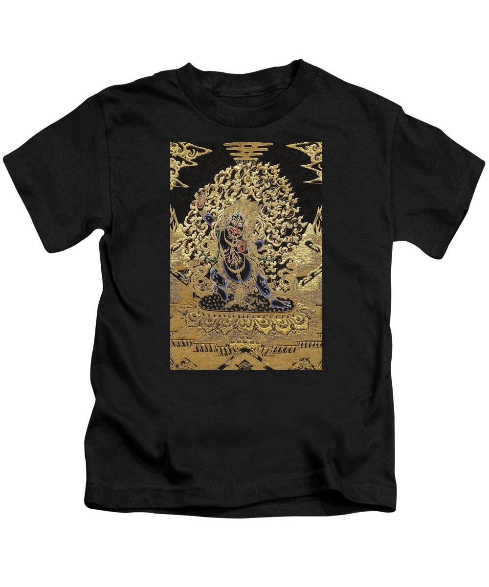 'treasures Of Tibet' Collection By Serge Averbukh Kids T-Shirt featuring the digital art Tibetan Thangka - Vajrapani - Protector And Guide Of Gautama Buddha by Serge Averbukh