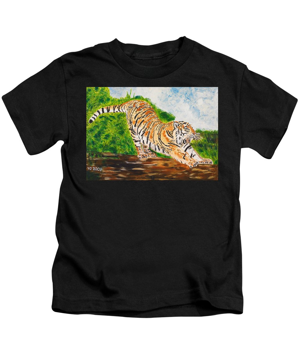 Cat Kids T-Shirt featuring the painting Tiger Stretching by Valerie Ornstein