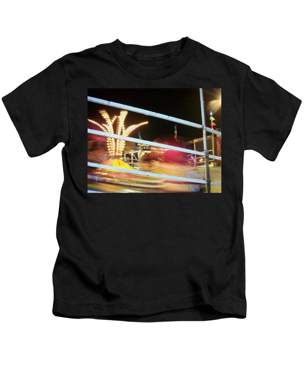 State Fair Kids T-Shirt featuring the photograph Tilt-a-whirl 2 by Anita Burgermeister