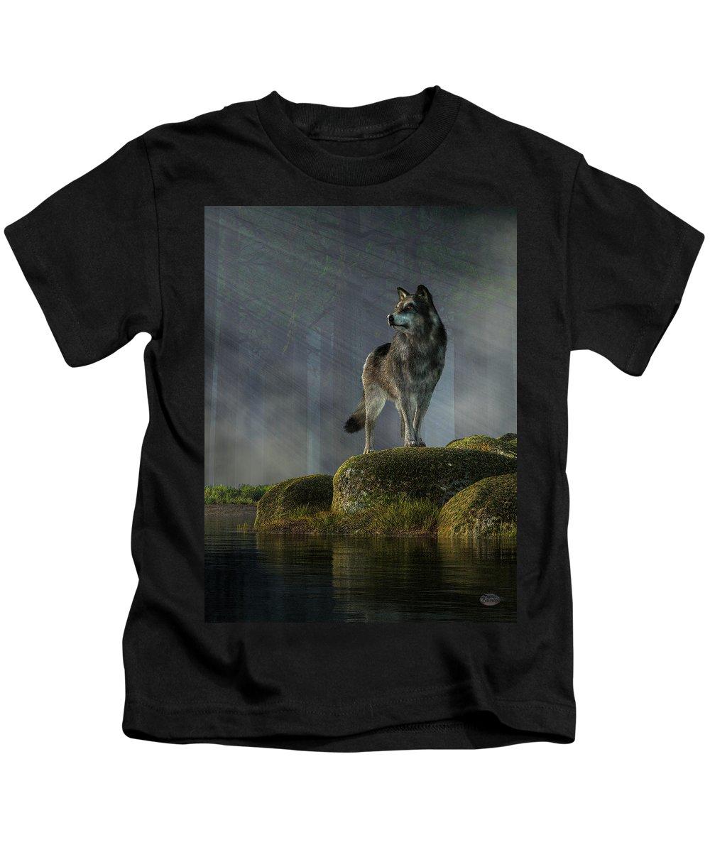Timber Wolf Kids T-Shirt featuring the digital art Timber Wolf by Daniel Eskridge