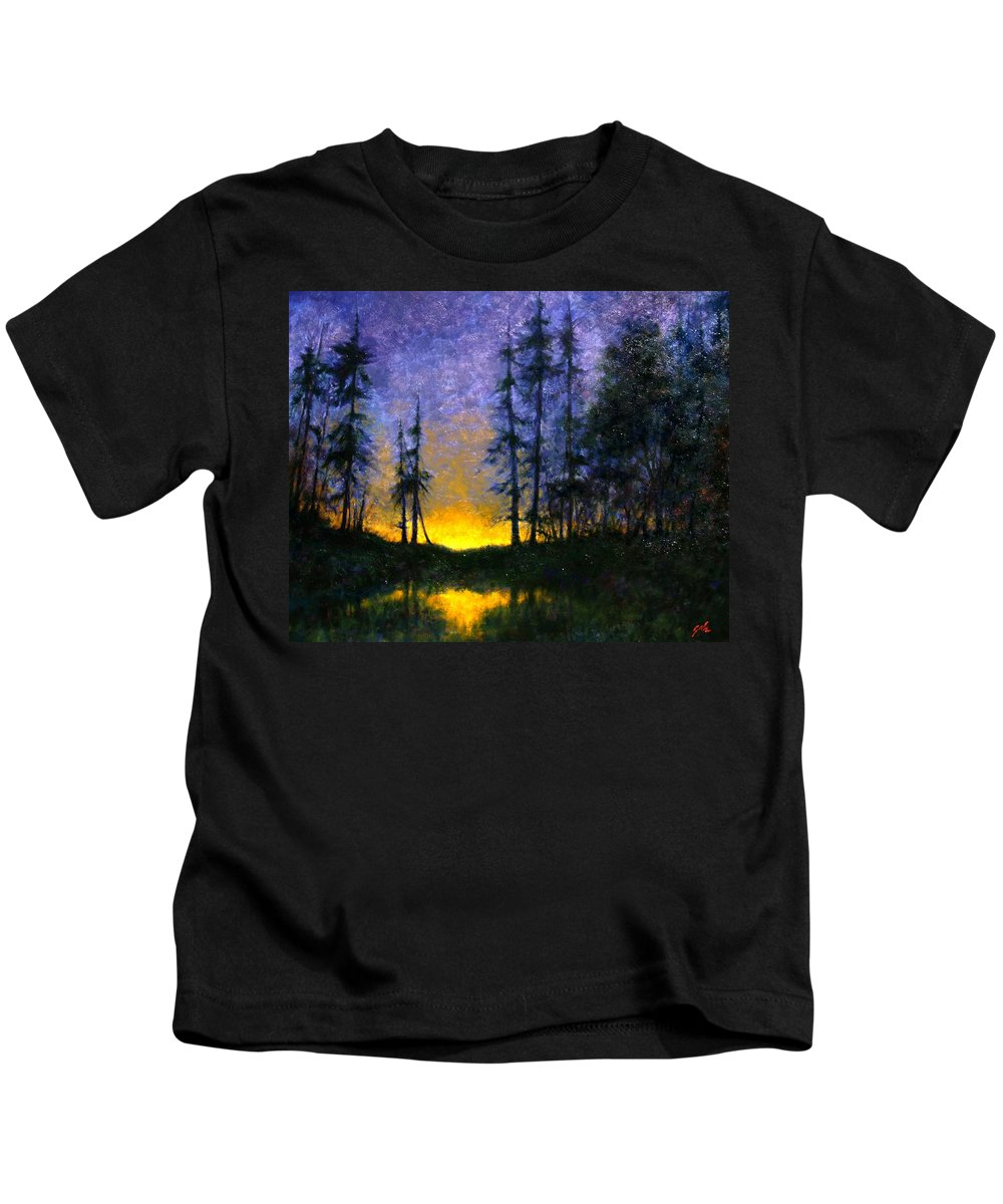 Landscape. Nocturn Kids T-Shirt featuring the painting Timberline by Jim Gola