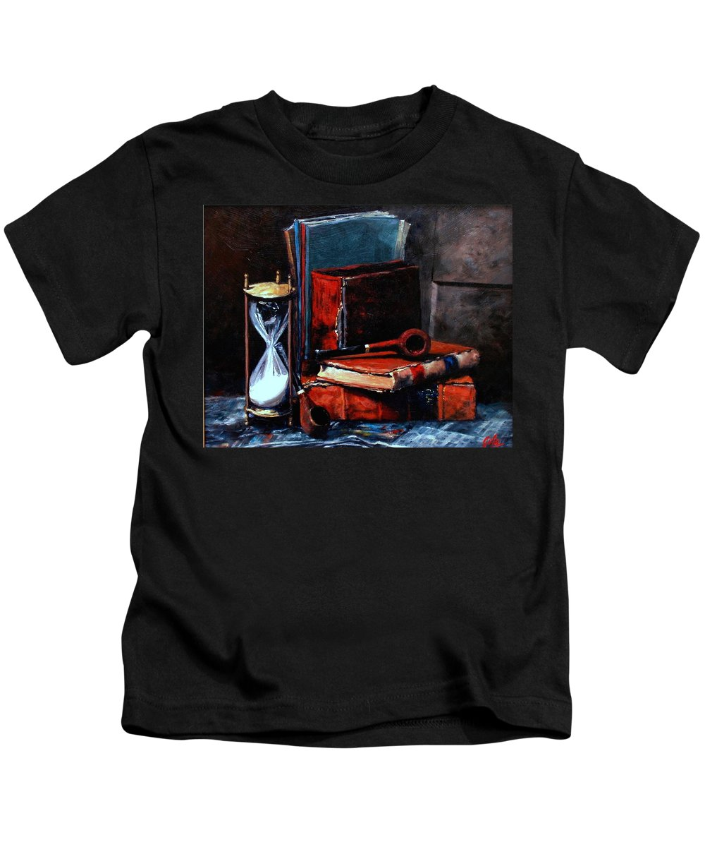 Still Life Painting Kids T-Shirt featuring the painting Time And Old Friends by Jim Gola