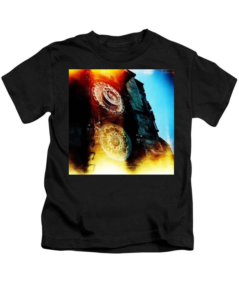 Clock Time Holga Color Photograph Praha Kids T-Shirt featuring the photograph Time Is Burning by Olivier De Rycke