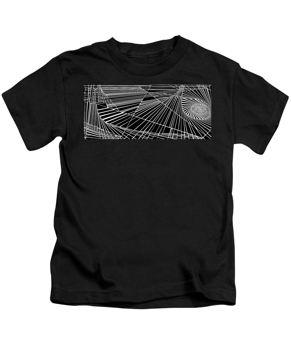 Dynamic Black And White Kids T-Shirt featuring the painting Timelocked by Douglas Christian Larsen
