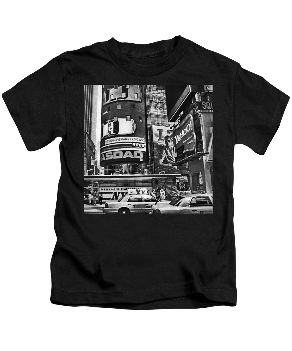 Times Square Kids T-Shirt featuring the digital art Times Square Black And White by Mary Pille