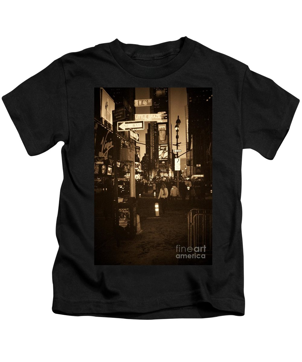 New York Kids T-Shirt featuring the photograph Times Square by Debbi Granruth