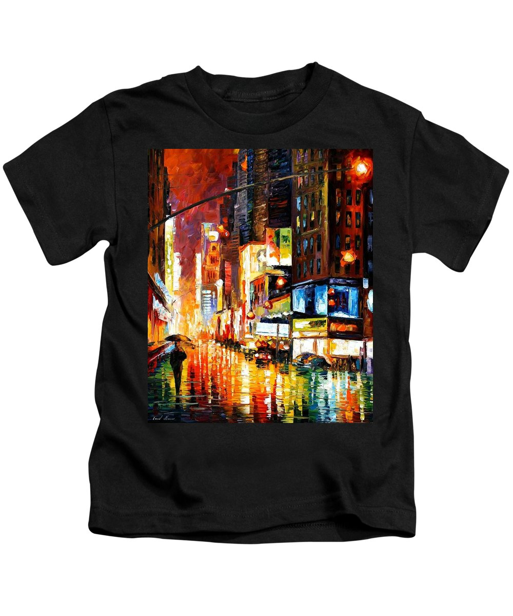 City Kids T-Shirt featuring the painting Times Square by Leonid Afremov