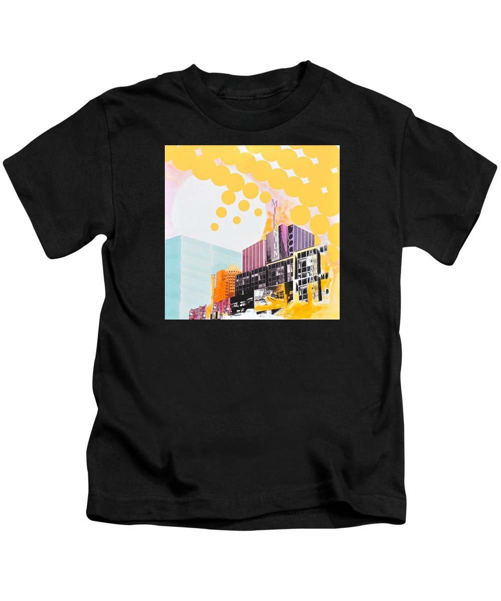 Ny Kids T-Shirt featuring the painting Times Square Milenium Hotel by Jean Pierre Rousselet