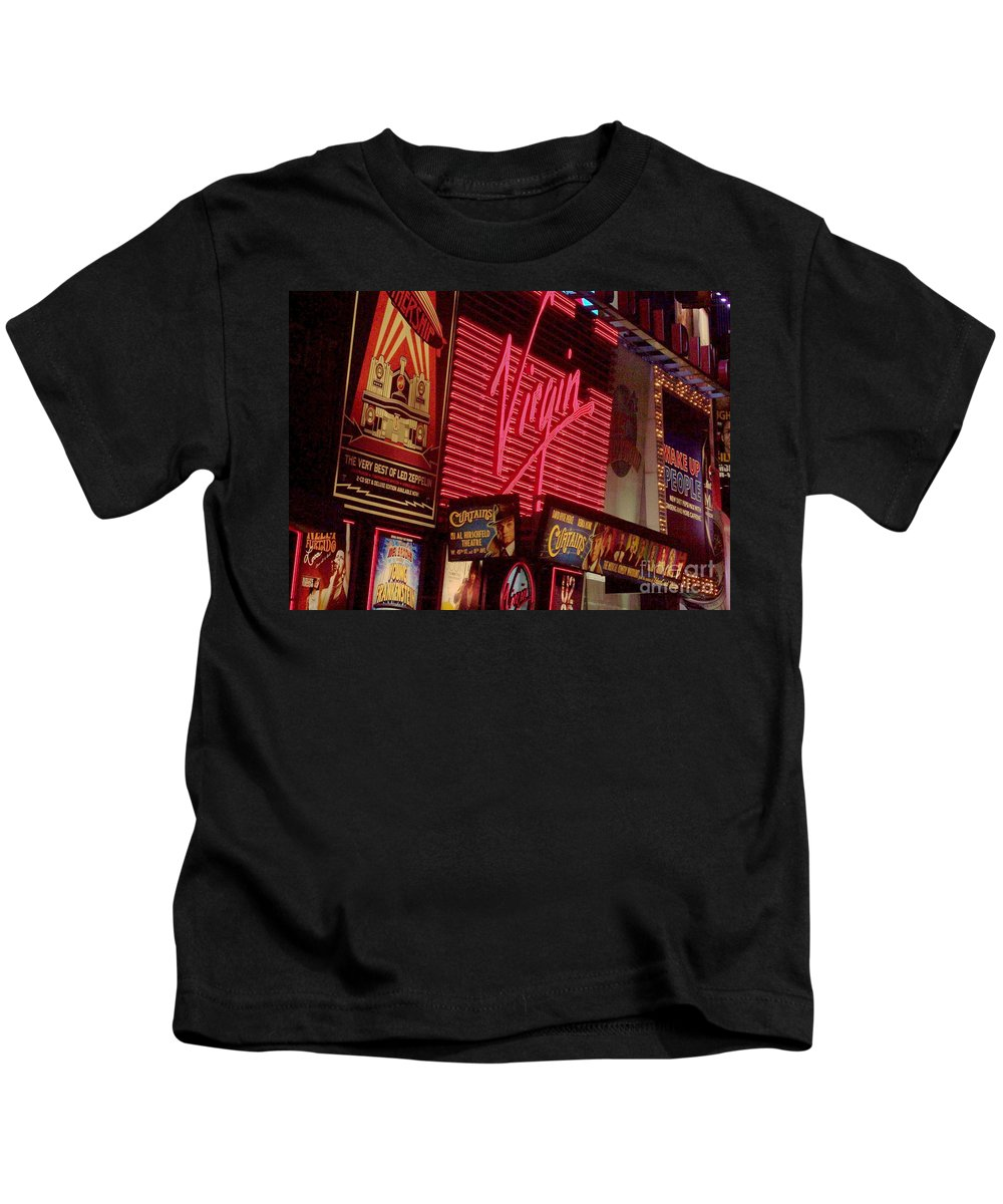 Times Square Kids T-Shirt featuring the photograph Times Square Night by Debbi Granruth