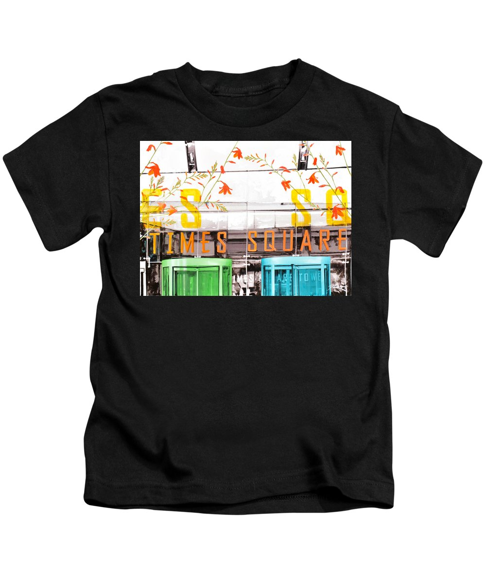 Ny Kids T-Shirt featuring the painting Times Square Tower by Jean Pierre Rousselet