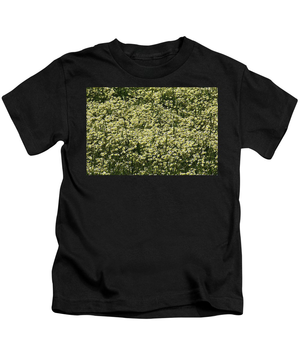 Tiny Meadow Flowers Kids T-Shirt featuring the photograph Tiny Meadow Flowers by Garry Gay