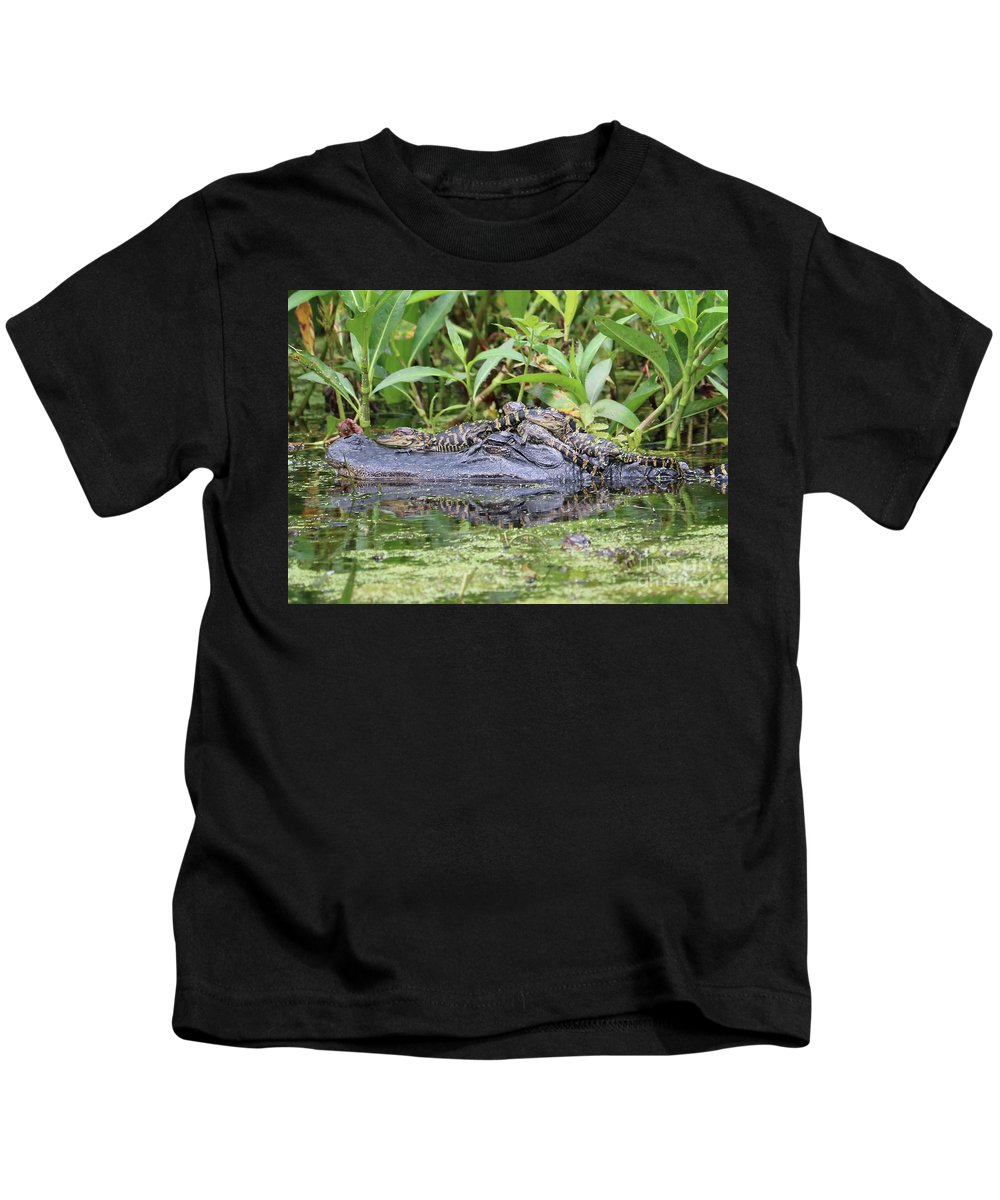 Gator Kids T-Shirt featuring the photograph Tired Mama Gator by Carol Groenen
