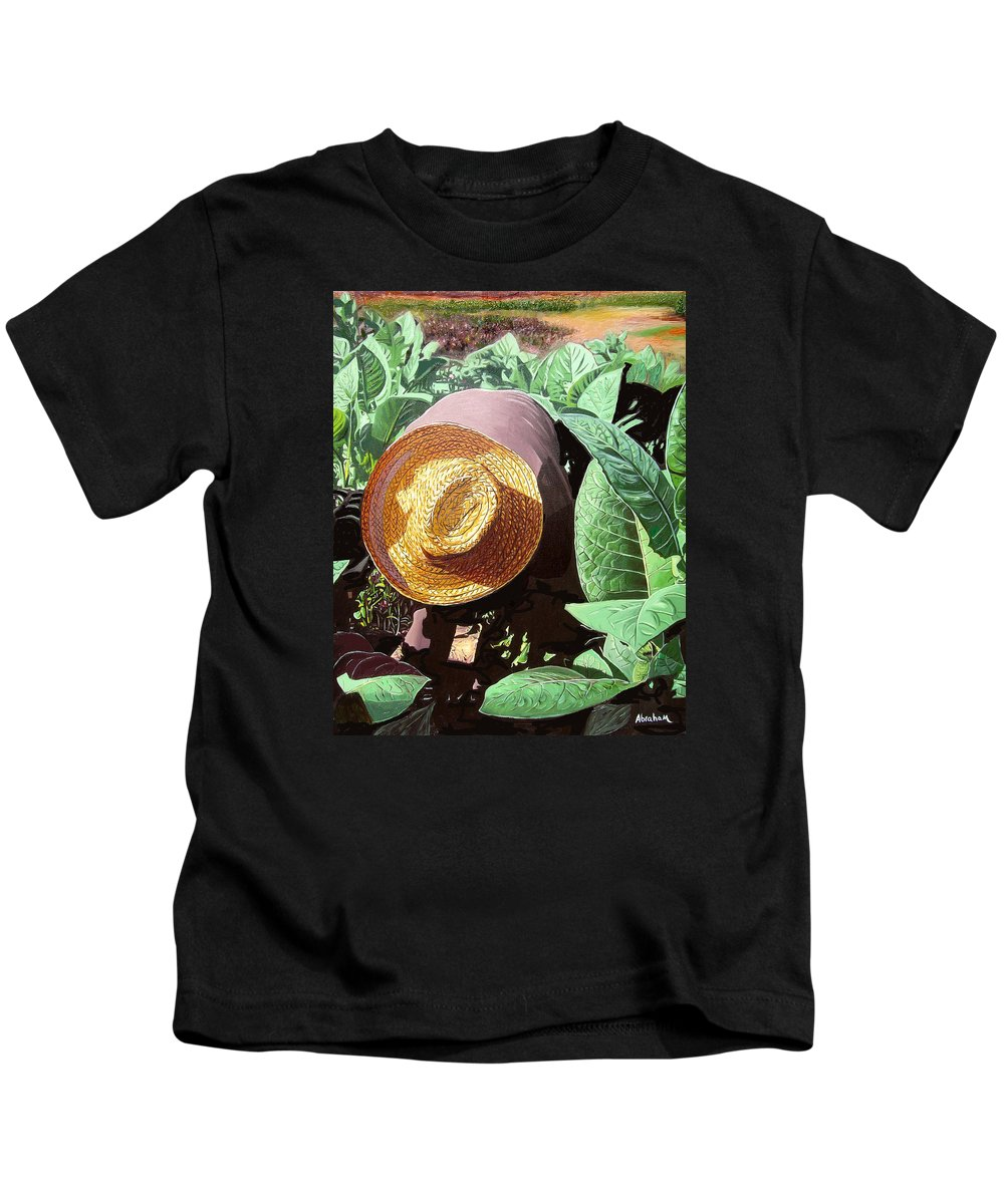 Tobacco Kids T-Shirt featuring the painting Tobacco Picker by Jose Manuel Abraham