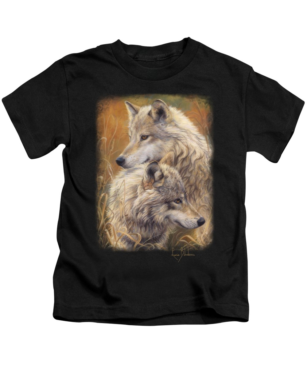 Wolf Kids T-Shirt featuring the painting Together by Lucie Bilodeau