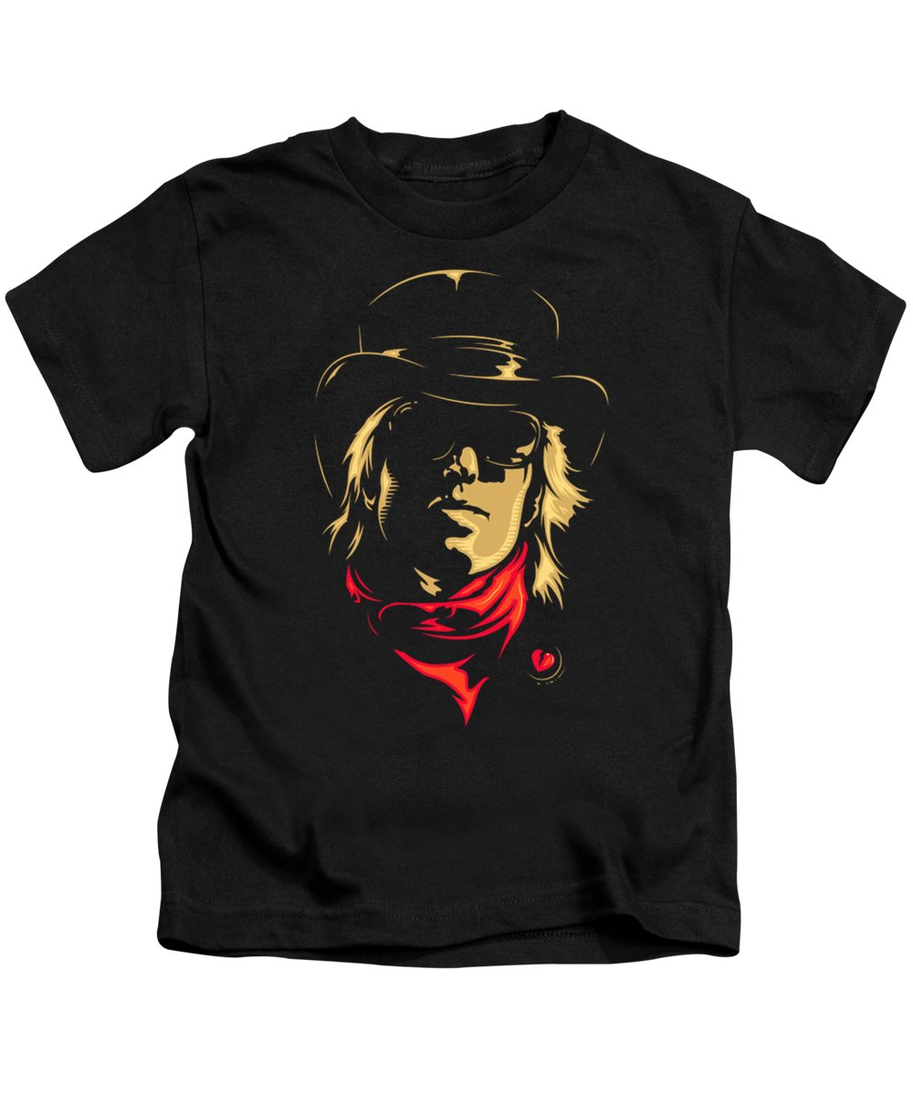Tom Kids T-Shirt featuring the painting Tom Petty by Ocean Soono