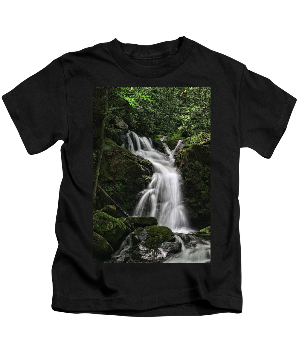 Waterfall Kids T-Shirt featuring the photograph Top Of Mouse Creek Falls by Shari Jardina