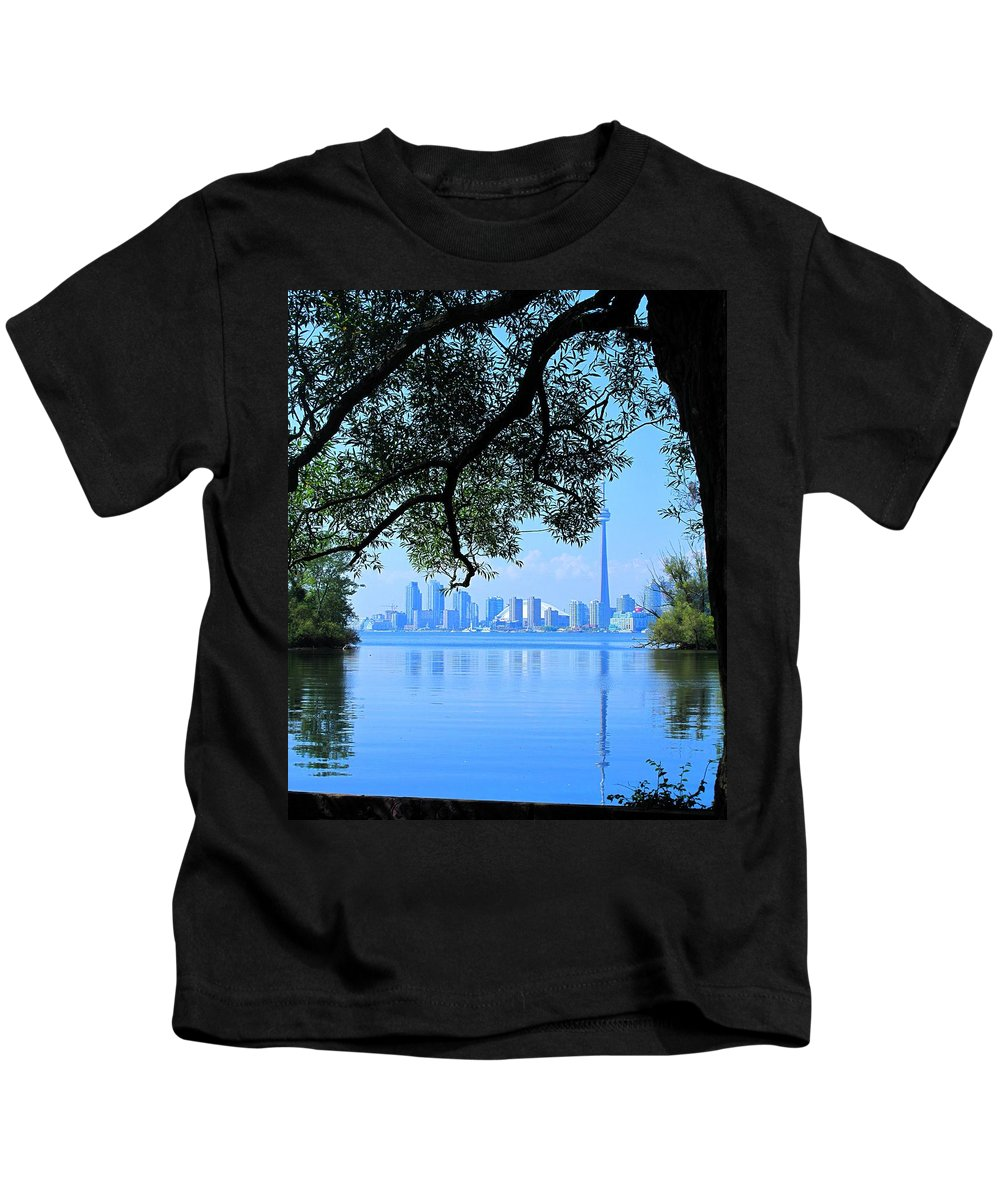 Cn Tower Kids T-Shirt featuring the photograph Toronto Framed by Ian MacDonald