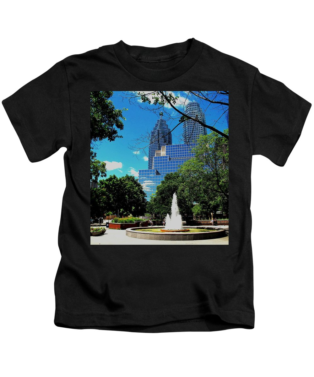 Park Kids T-Shirt featuring the photograph Toronto Wellington Street Park by Ian MacDonald