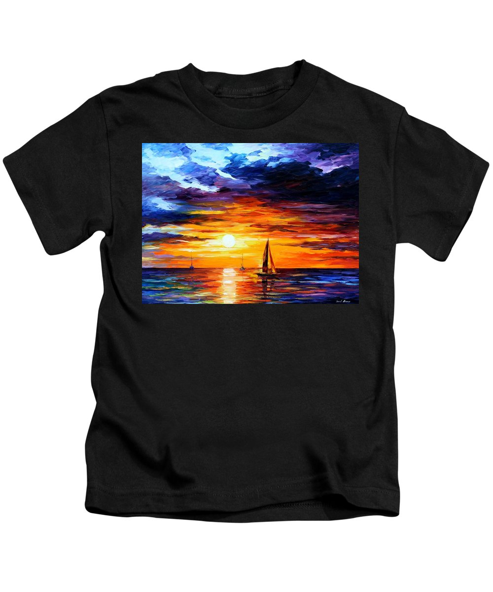 Afremov Kids T-Shirt featuring the painting Touch Of Horizon by Leonid Afremov