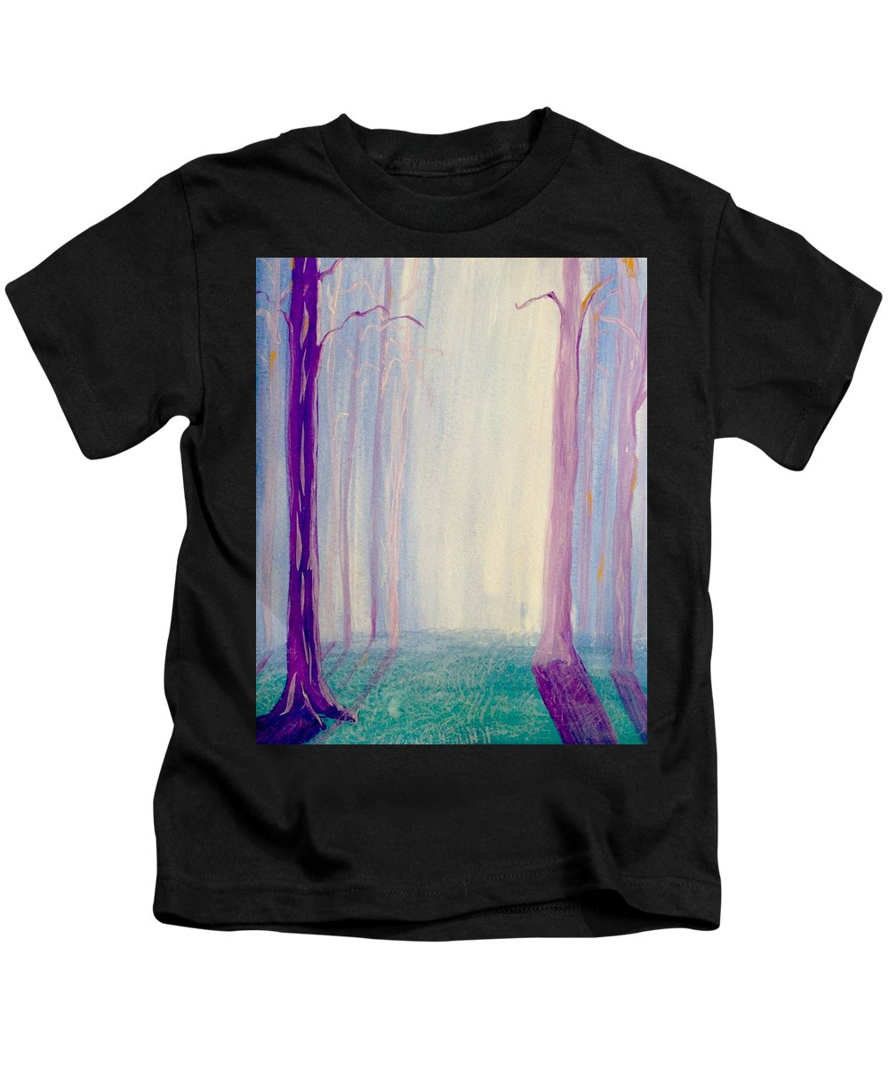 Forest Kids T-Shirt featuring the painting Towards The Light. by Denise Van Zant