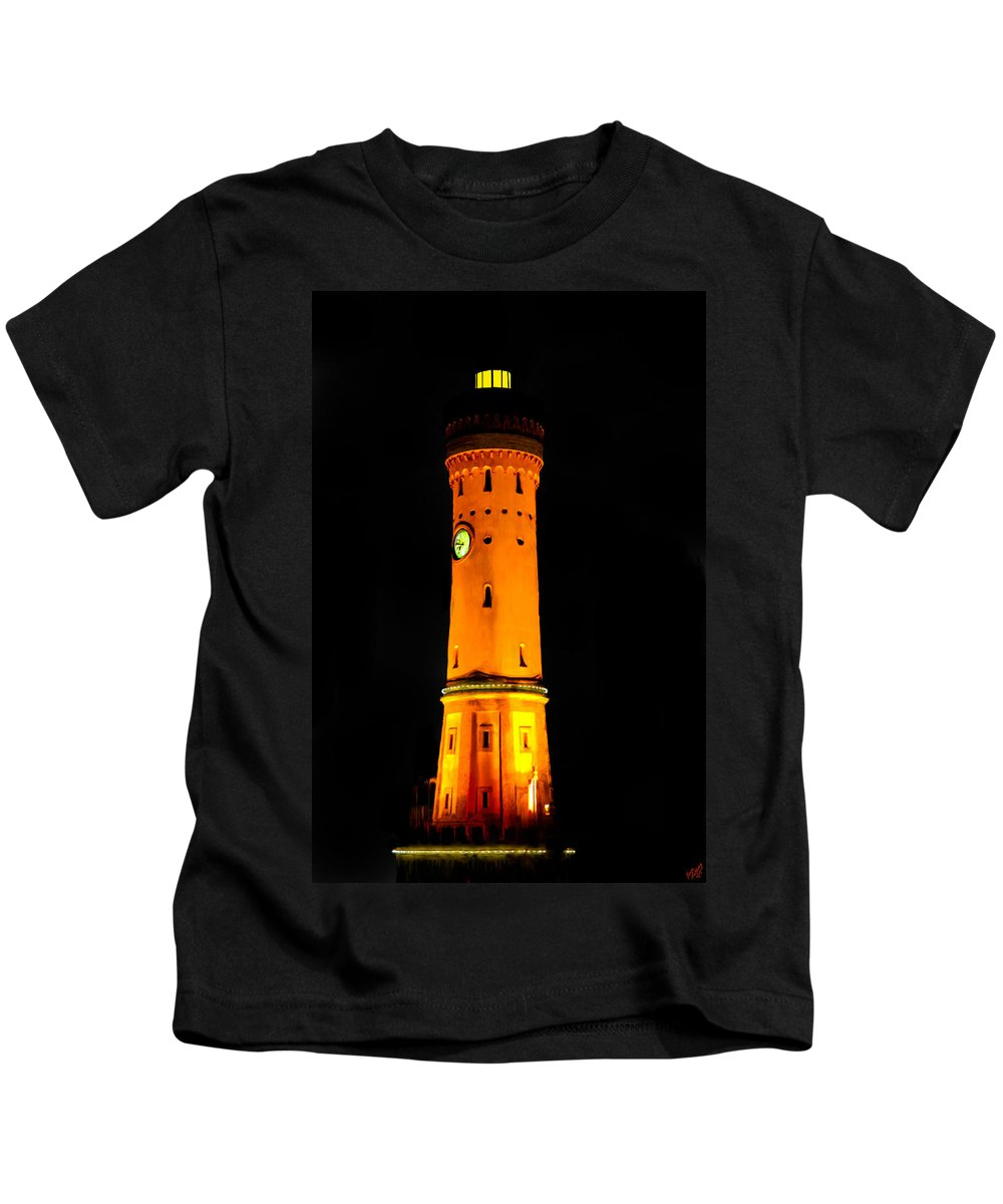 Lighthouse Kids T-Shirt featuring the painting Towering Golden Glory by Bruce Nutting