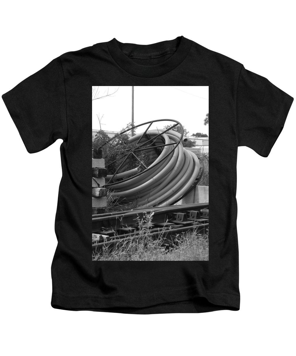 Blacka Nd White Kids T-Shirt featuring the photograph Tracks And Cable by Rob Hans