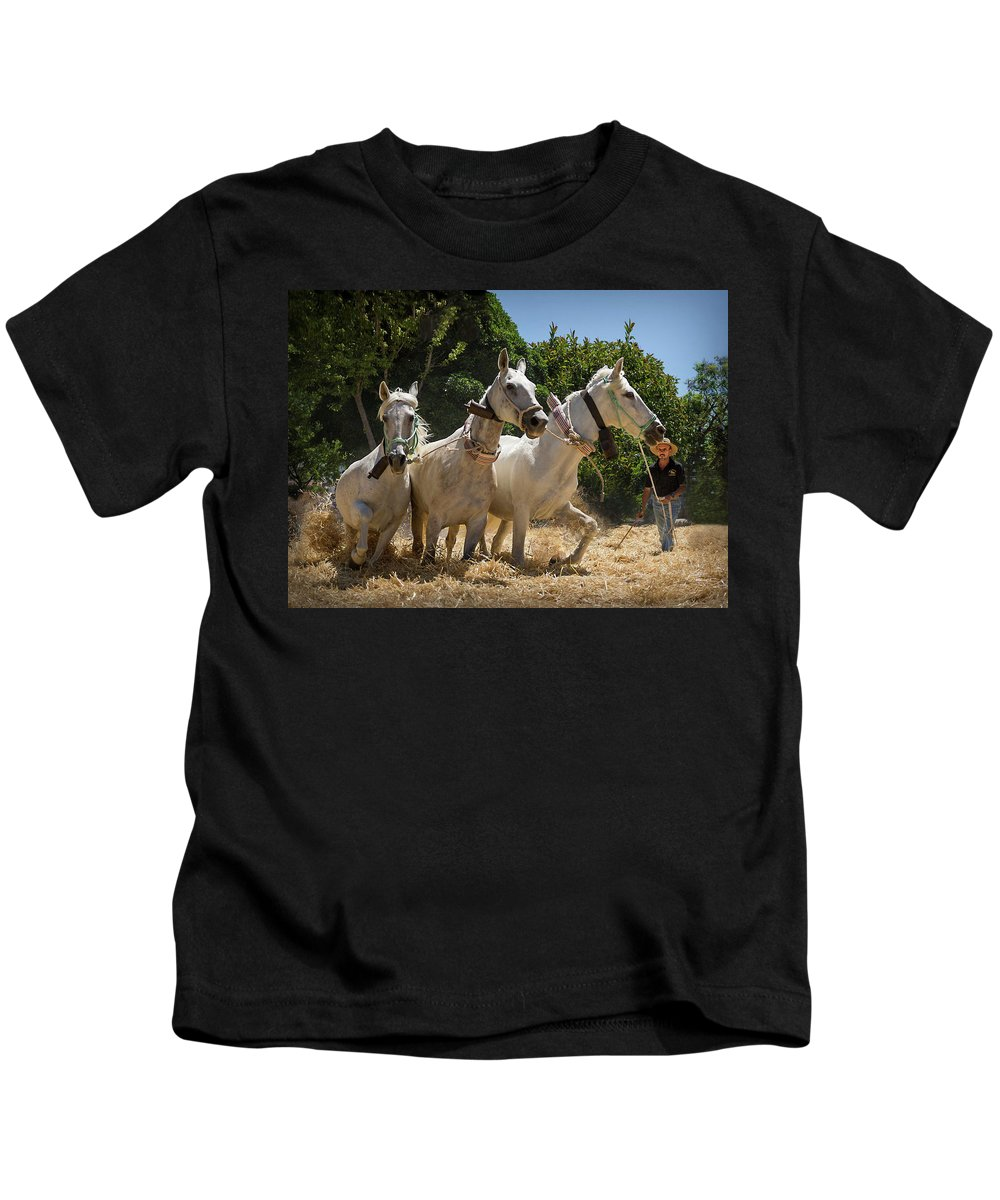 Agricultural Kids T-Shirt featuring the photograph Traditional Spanish Threshing by Peter Hayward Photographer