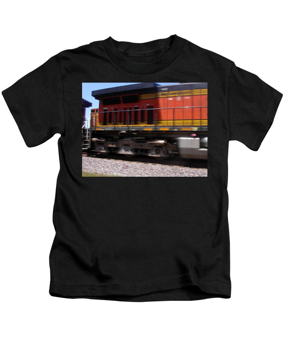 Train Kids T-Shirt featuring the photograph Train In Motion by Anne Cameron Cutri