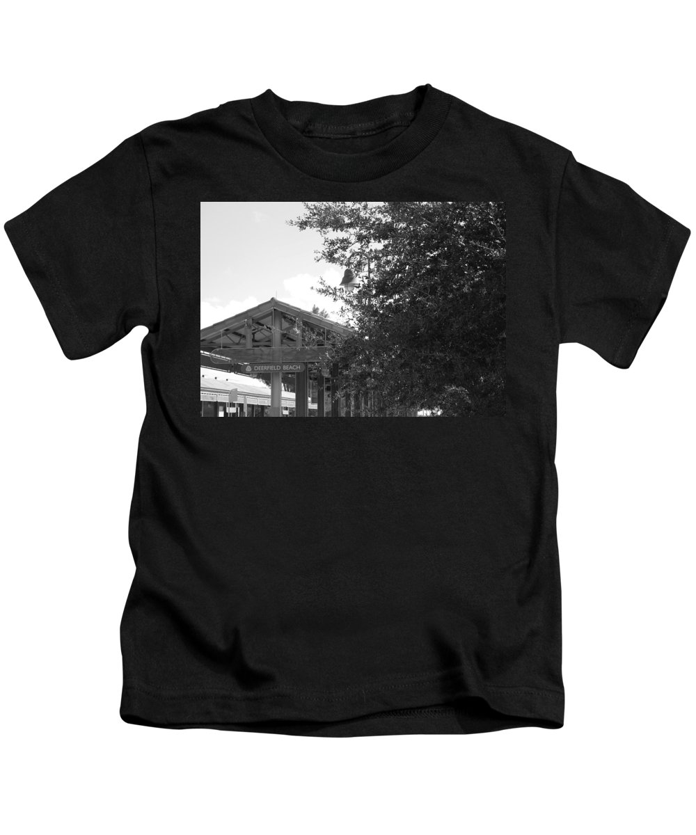 Black And White Kids T-Shirt featuring the photograph Train Station In Deerfield Beach by Rob Hans