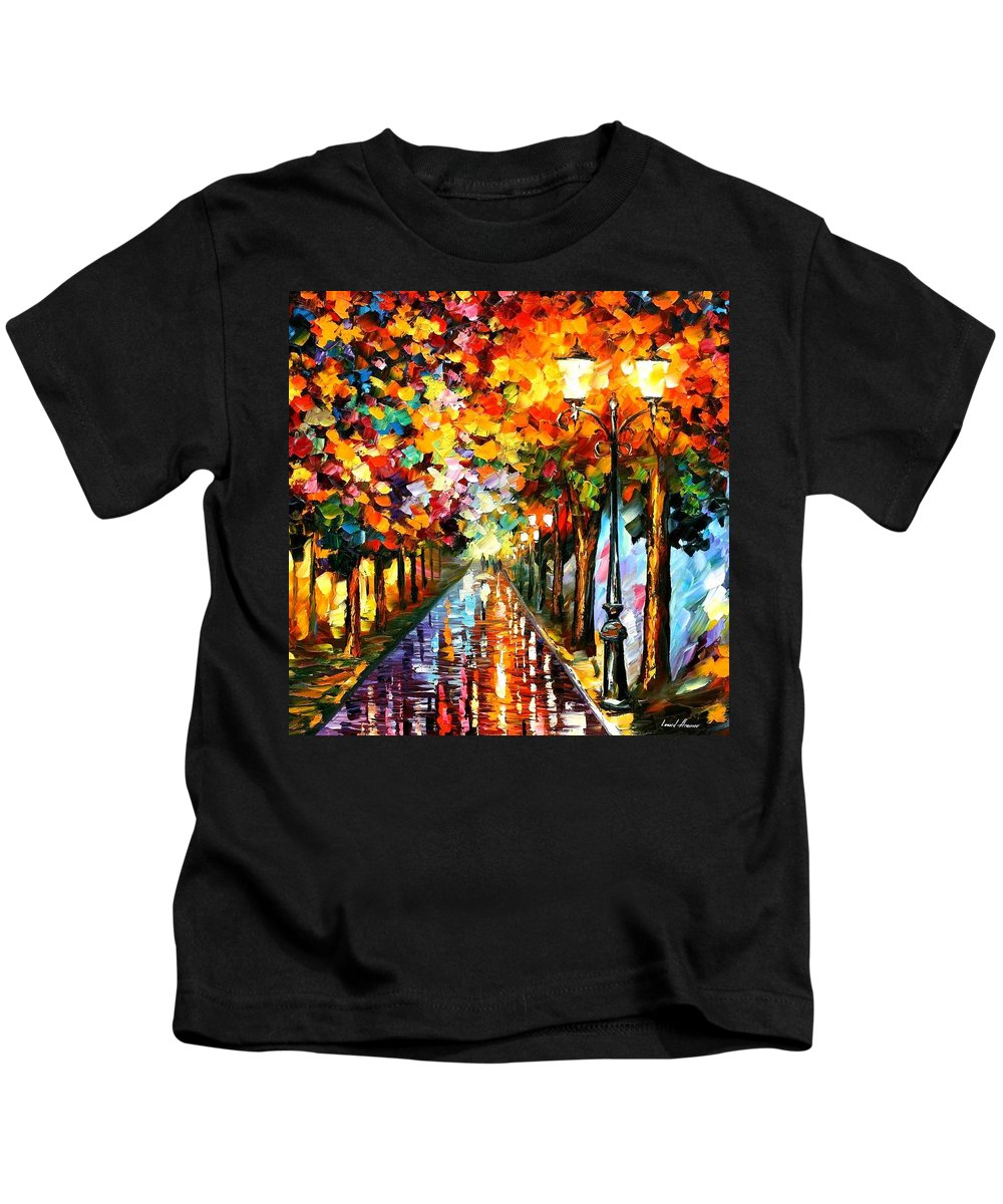 Afremov Kids T-Shirt featuring the painting Transformation Of The Night by Leonid Afremov