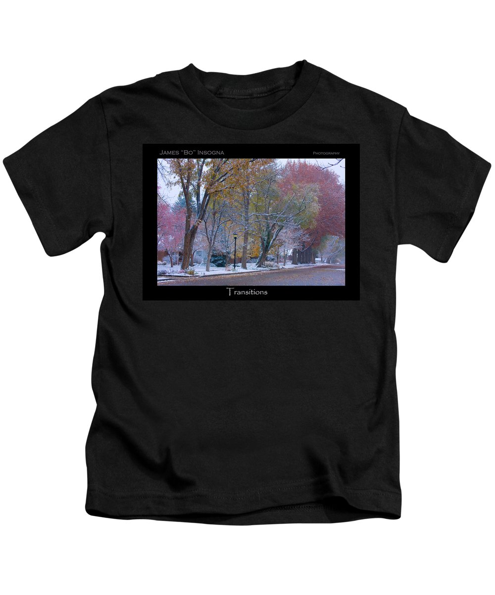 Country Kids T-Shirt featuring the photograph Transitions Autumn To Winter Snow Poster by James BO Insogna