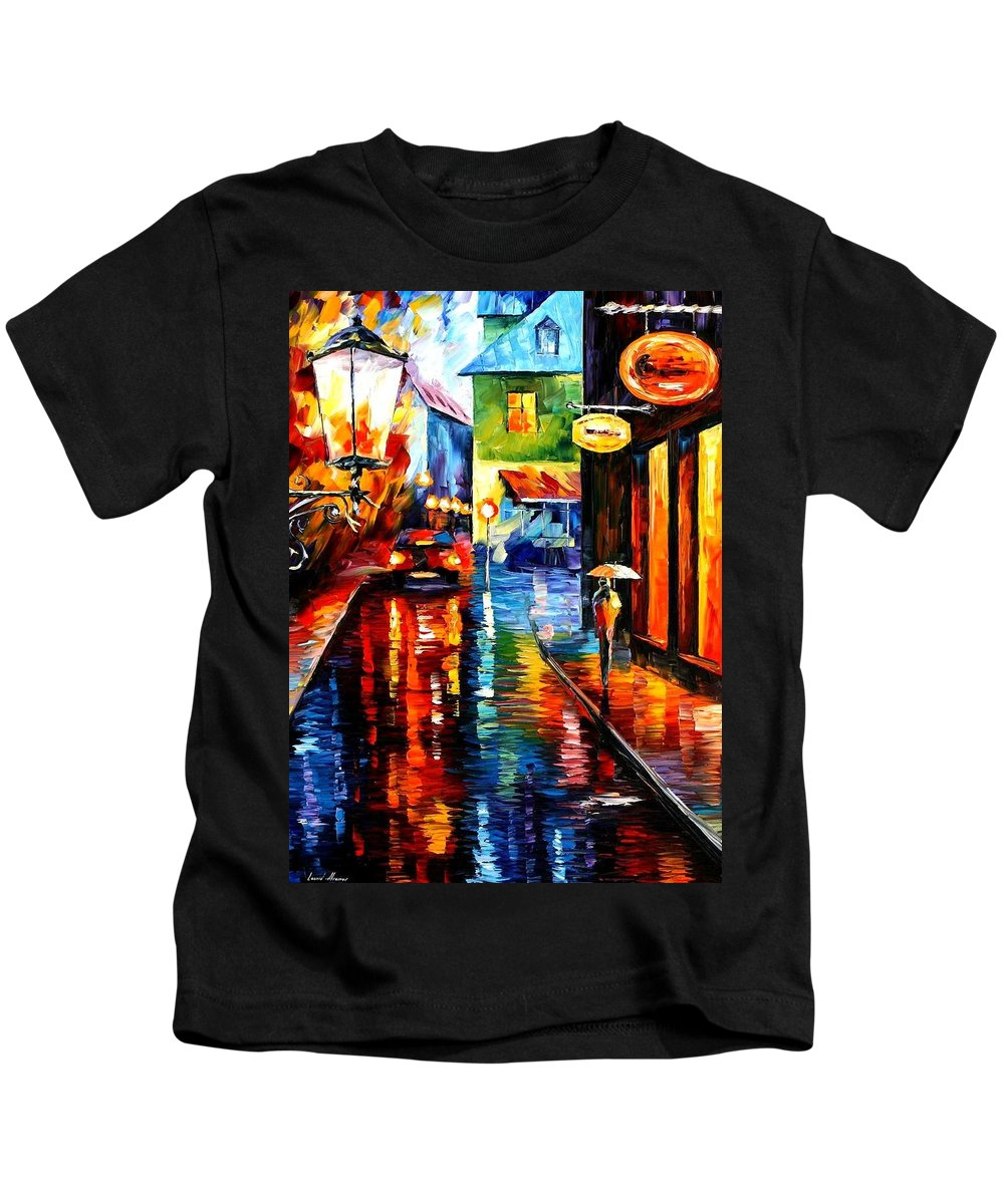 Afremov Kids T-Shirt featuring the painting Trapped Inside Blue Rain by Leonid Afremov