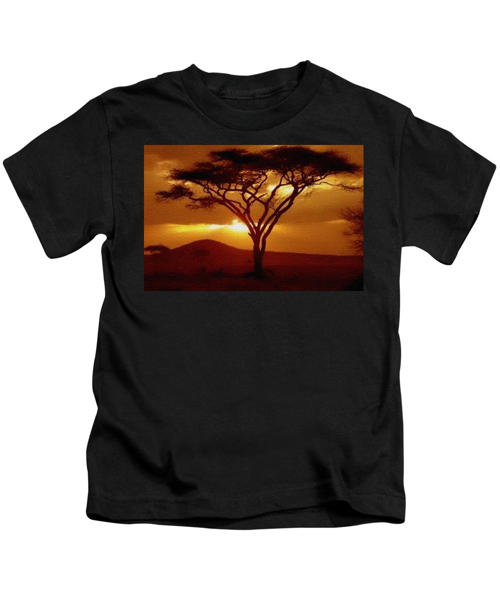 Rural Kids T-Shirt featuring the painting Tree At Sunset. L B by Gert J Rheeders