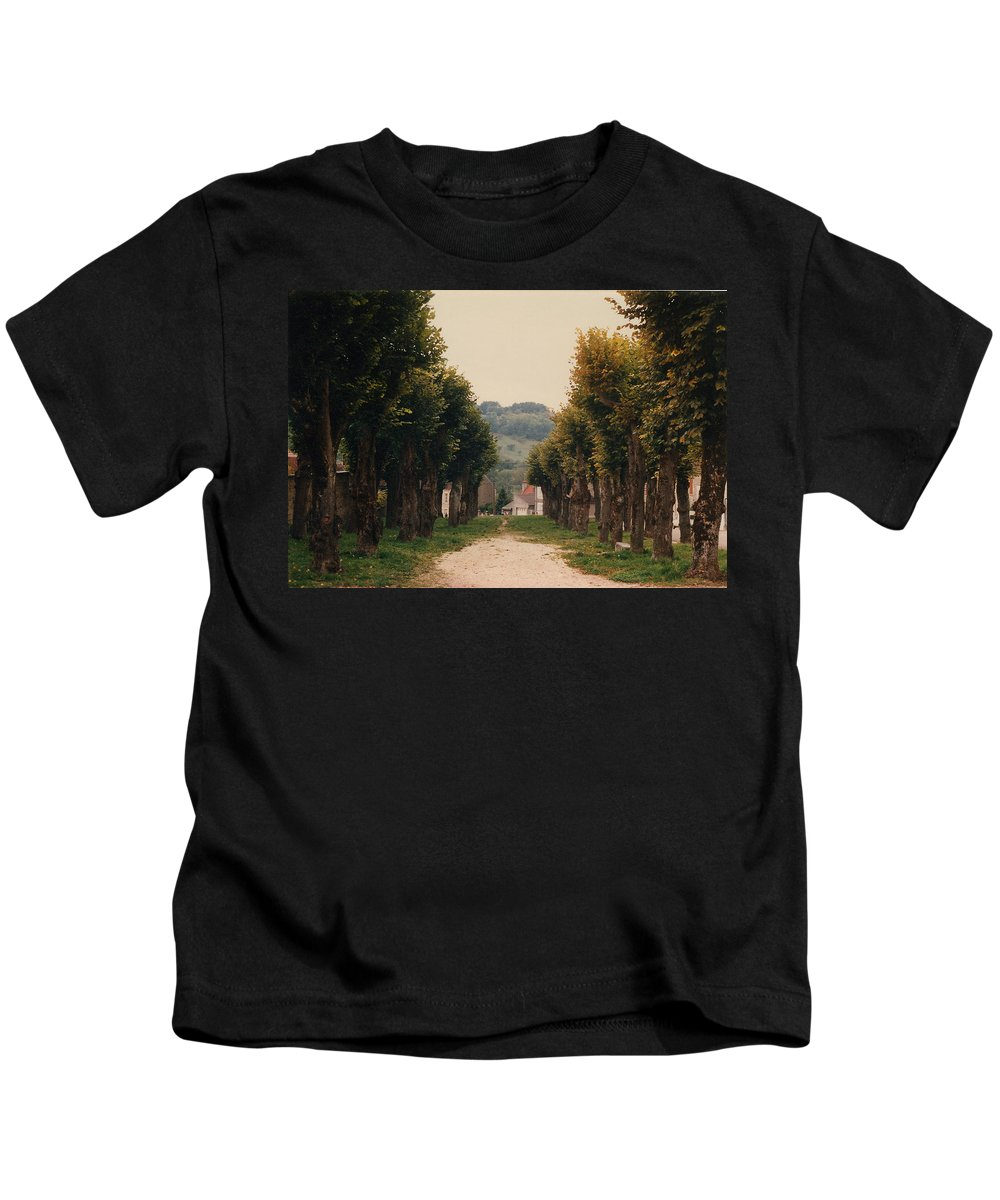 Trees Kids T-Shirt featuring the photograph Tree Lined Pathway In Lyon France by Nancy Mueller