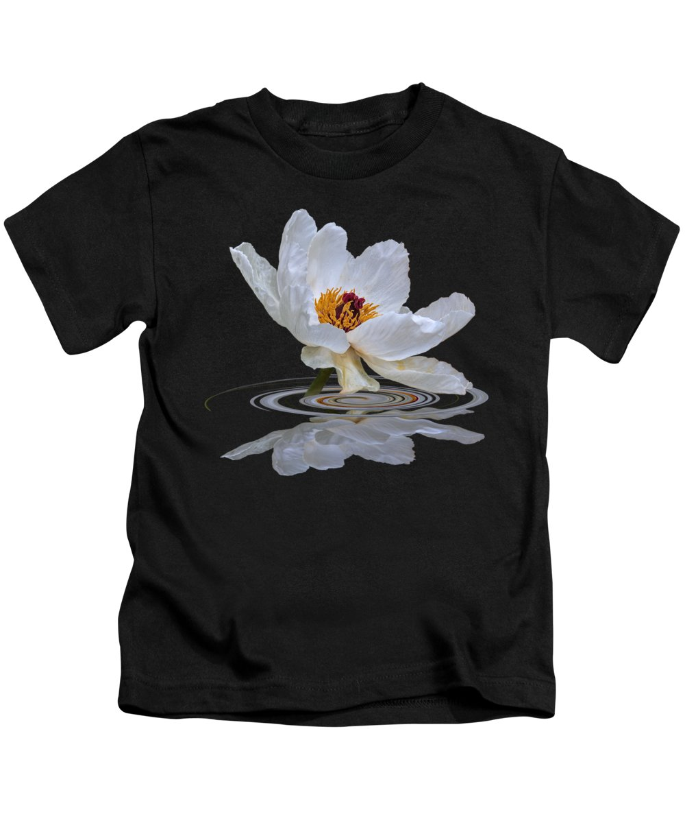 White Tree Peony Kids T-Shirt featuring the photograph Tree Peony Reflections by Gill Billington