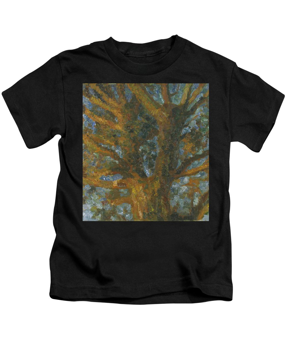 Impasto Painting Kids T-Shirt featuring the painting Tree by Robert Nizamov
