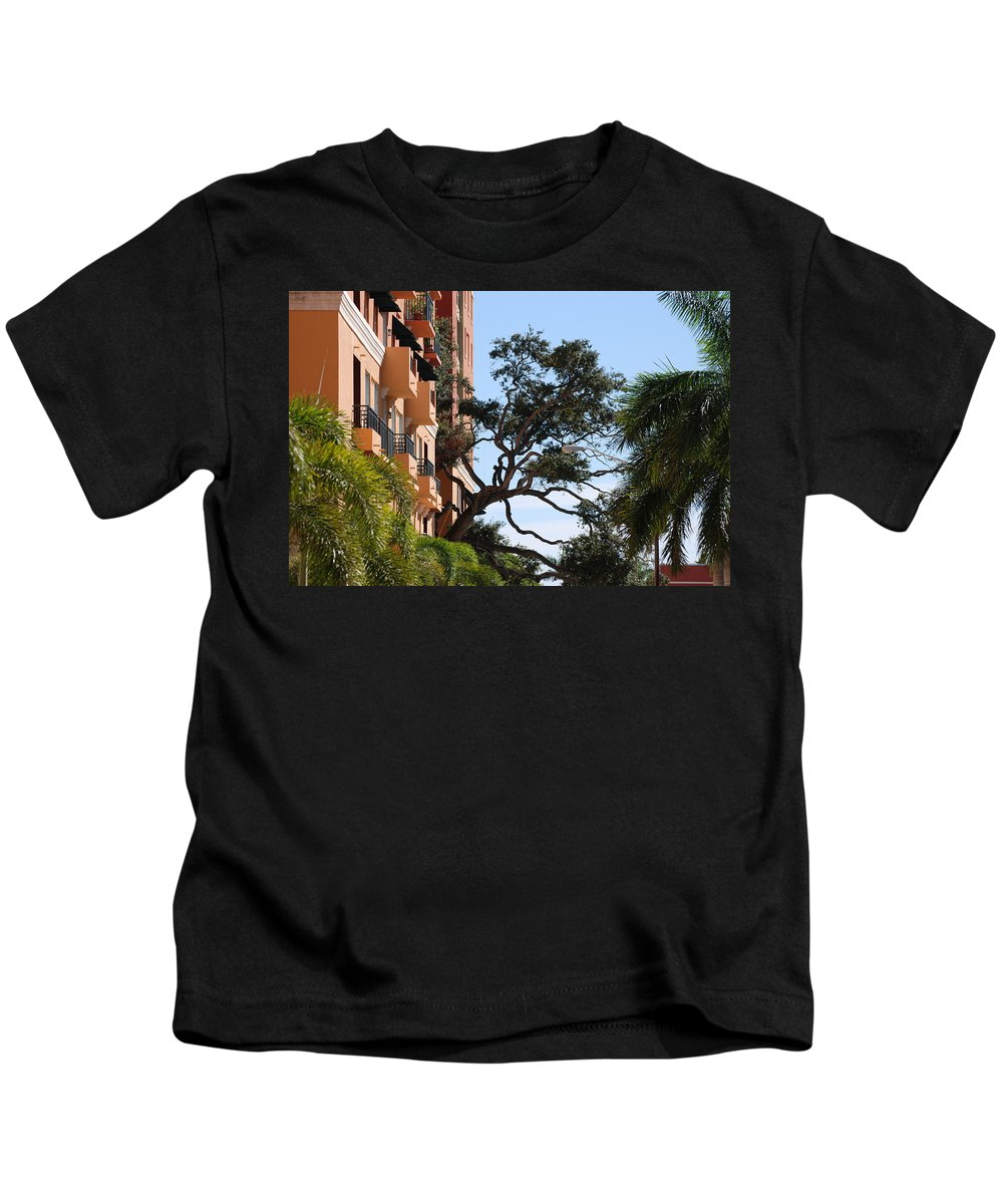 Architecture Kids T-Shirt featuring the photograph Trees In Space by Rob Hans