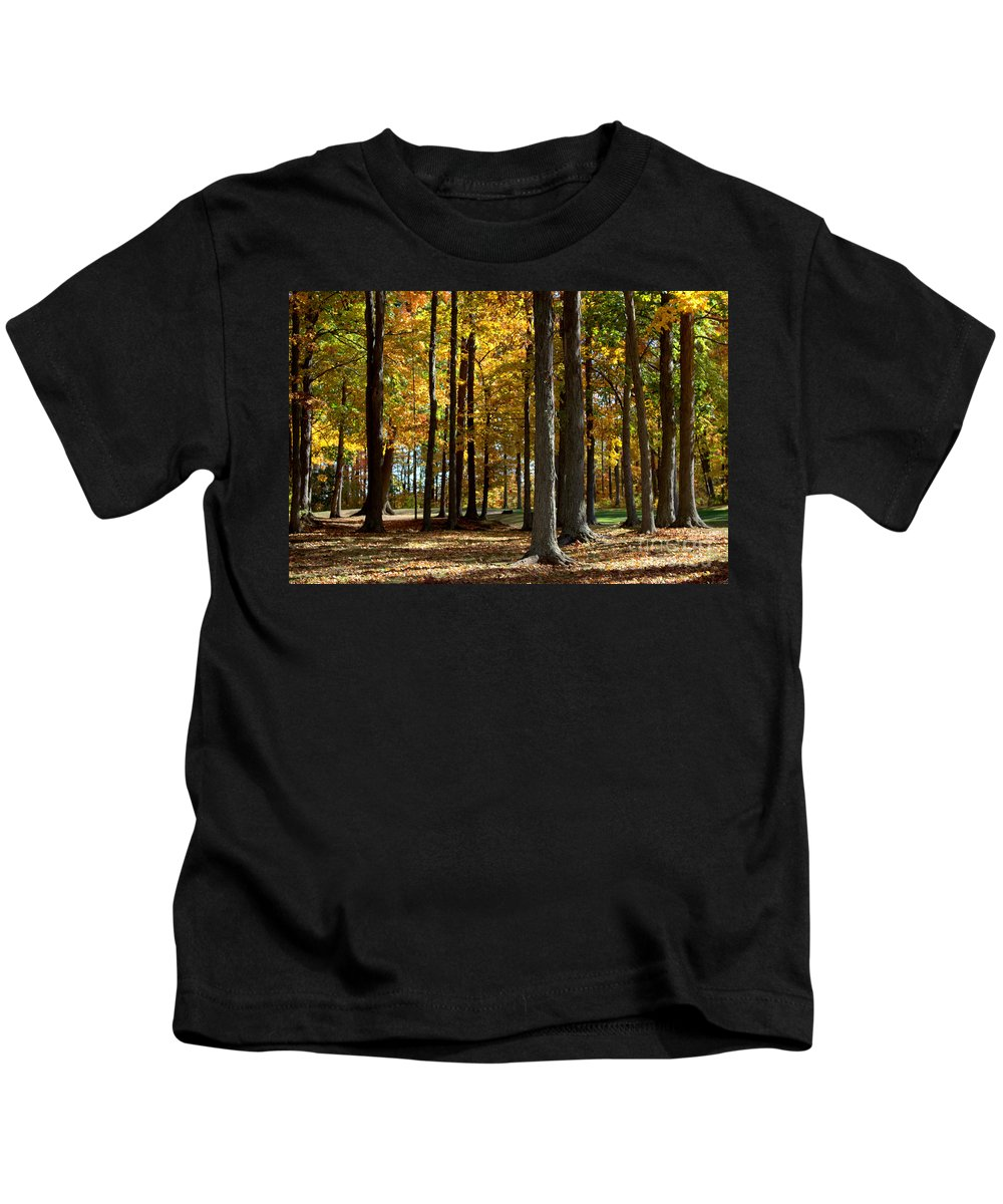 Grand Bend Kids T-Shirt featuring the photograph Tree's In The Forest by John Scatcherd