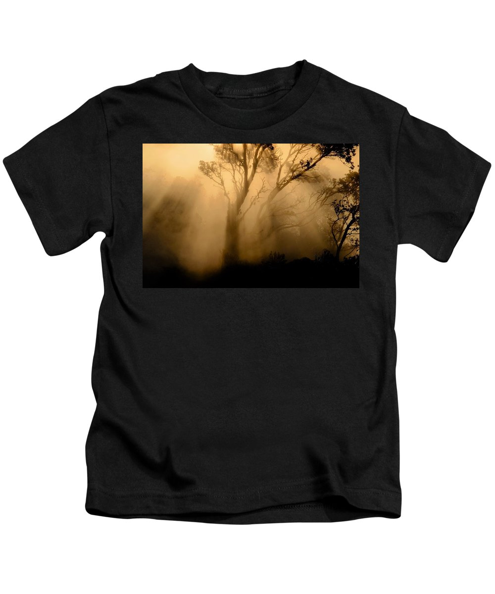 Volcano Kids T-Shirt featuring the photograph Steaming Trees by Randall Richards