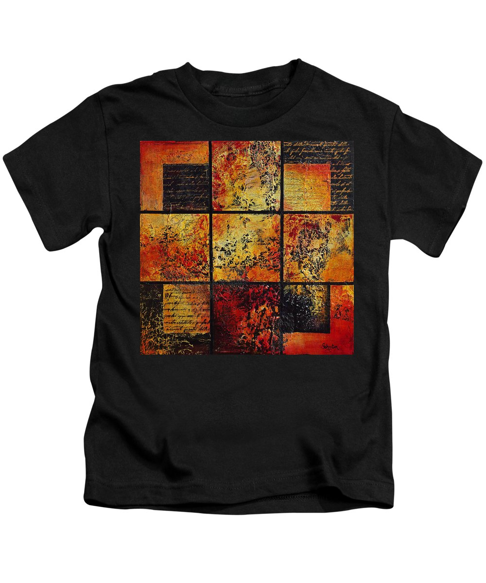 Abstract Kids T-Shirt featuring the painting Trial By Fire by Cindy Johnston