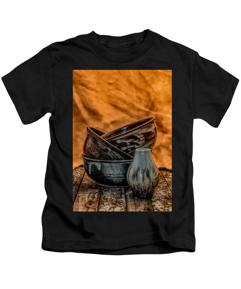 Bowls Kids T-Shirt featuring the photograph Trio Hdr by Dawn Dasharion