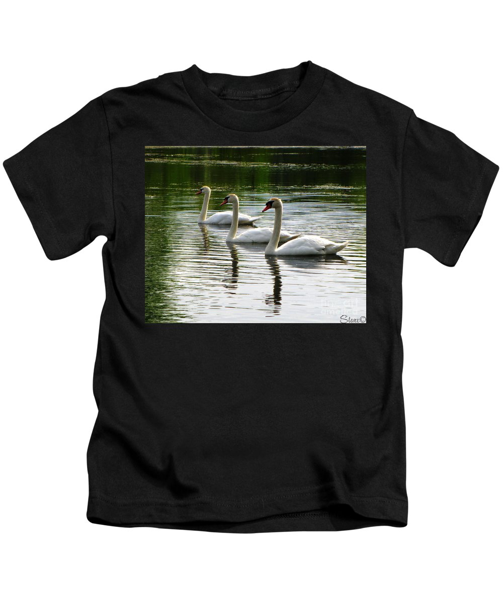 Swans Kids T-Shirt featuring the photograph Triplet Swans by September Stone