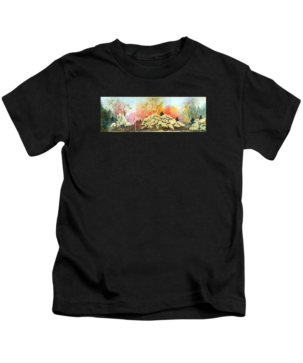 Landscape Kids T-Shirt featuring the painting Triptych by Lynn Quinn