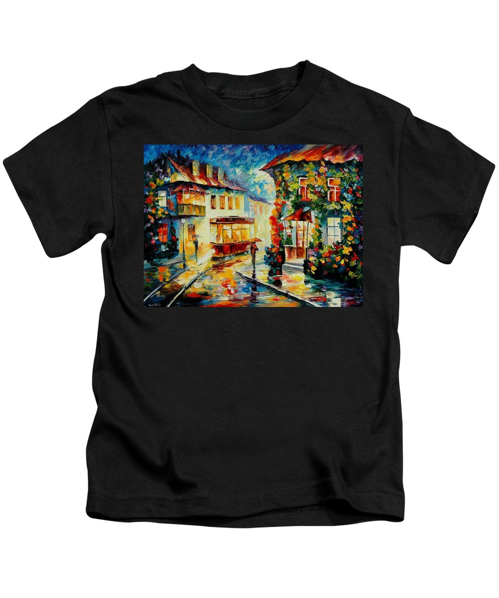 Afremov Kids T-Shirt featuring the painting Trolley by Leonid Afremov