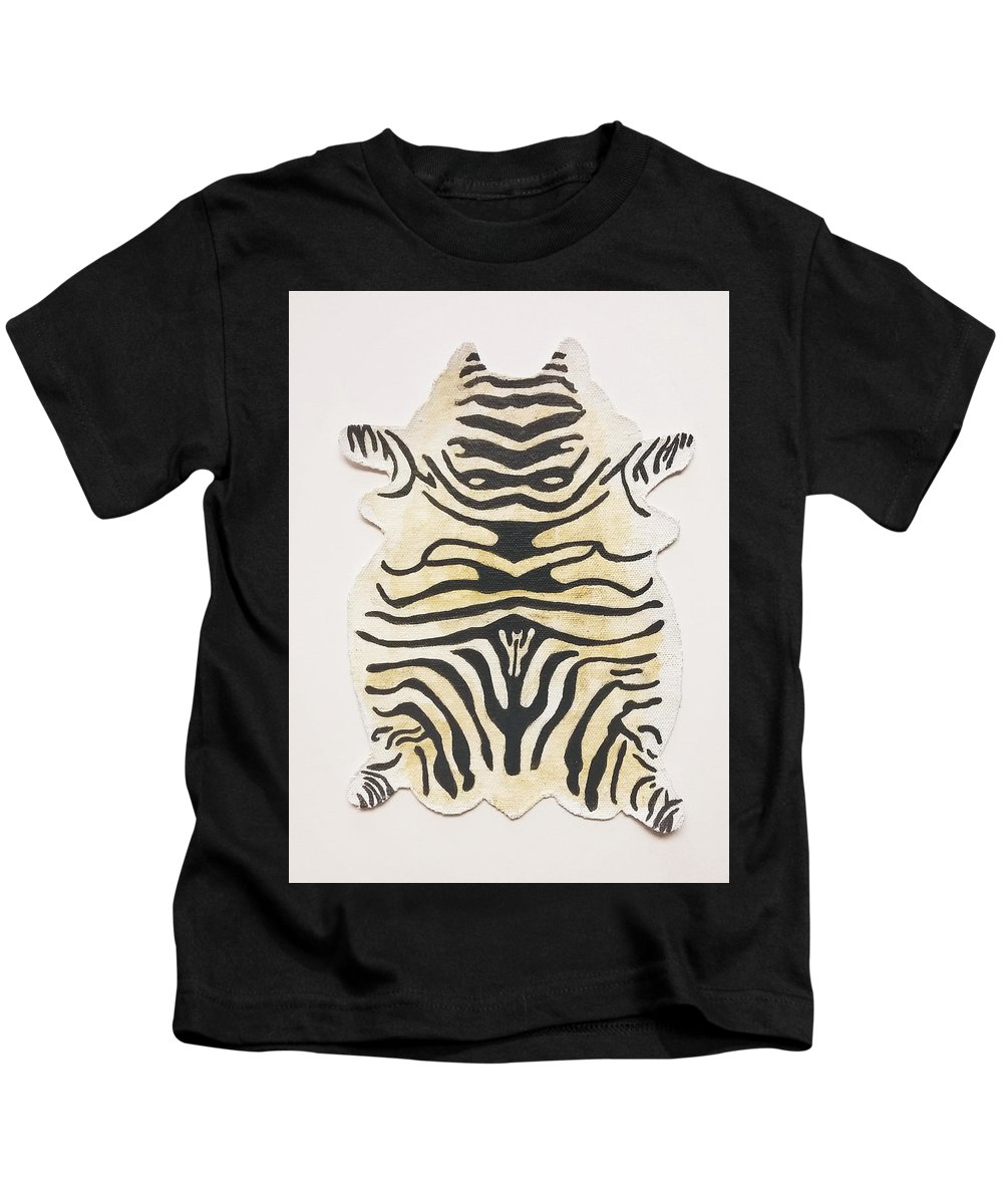 Zebra Kids T-Shirt featuring the painting Trophy Rug by Nate Petterson