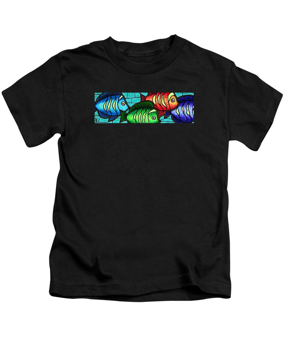 Tropics Kids T-Shirt featuring the painting Tropic Swim by Jim Harris