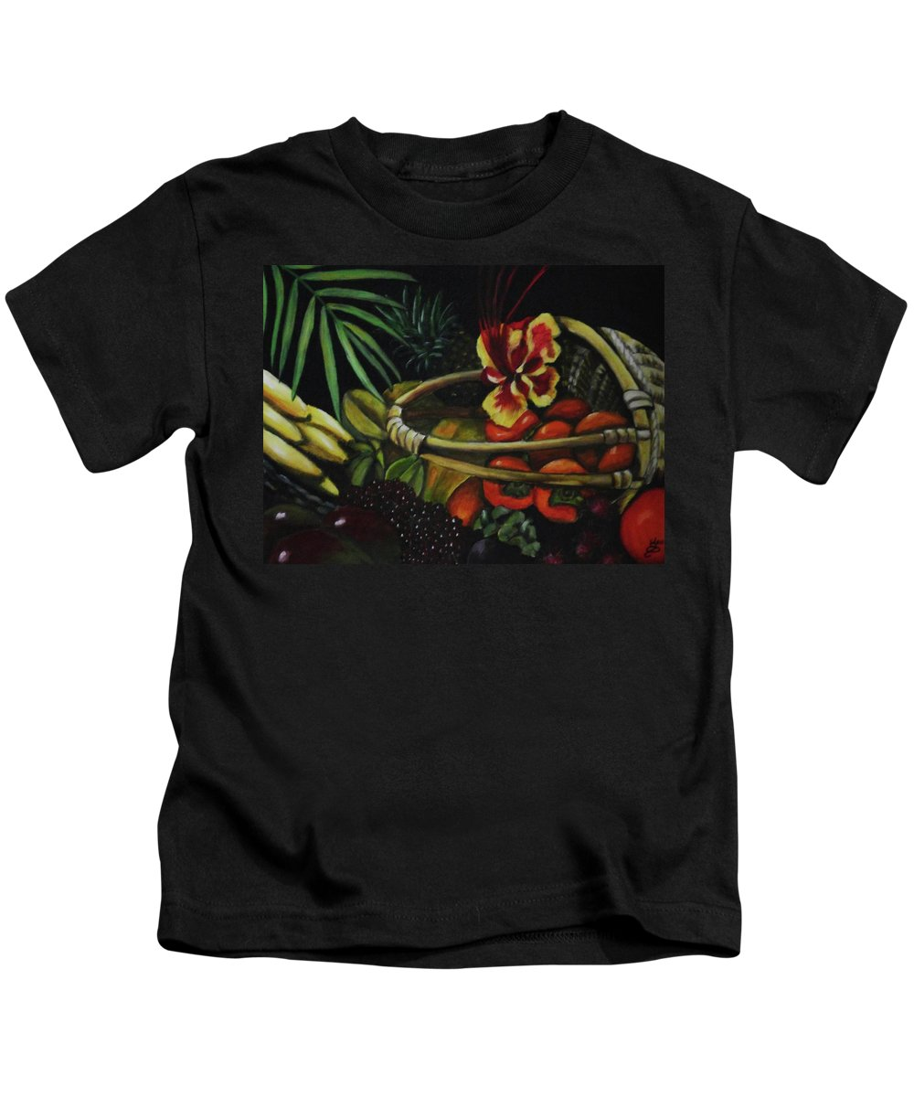 Acrylic Painting Kids T-Shirt featuring the painting Tropical Fruit by Kim Selig