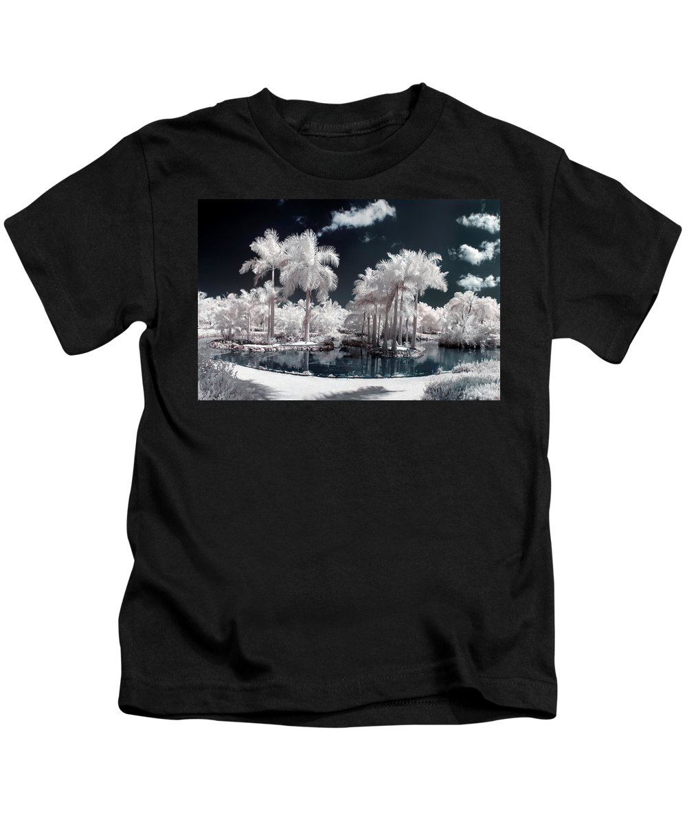 3scape Photos Kids T-Shirt featuring the photograph Tropical Paradise Infrared by Adam Romanowicz