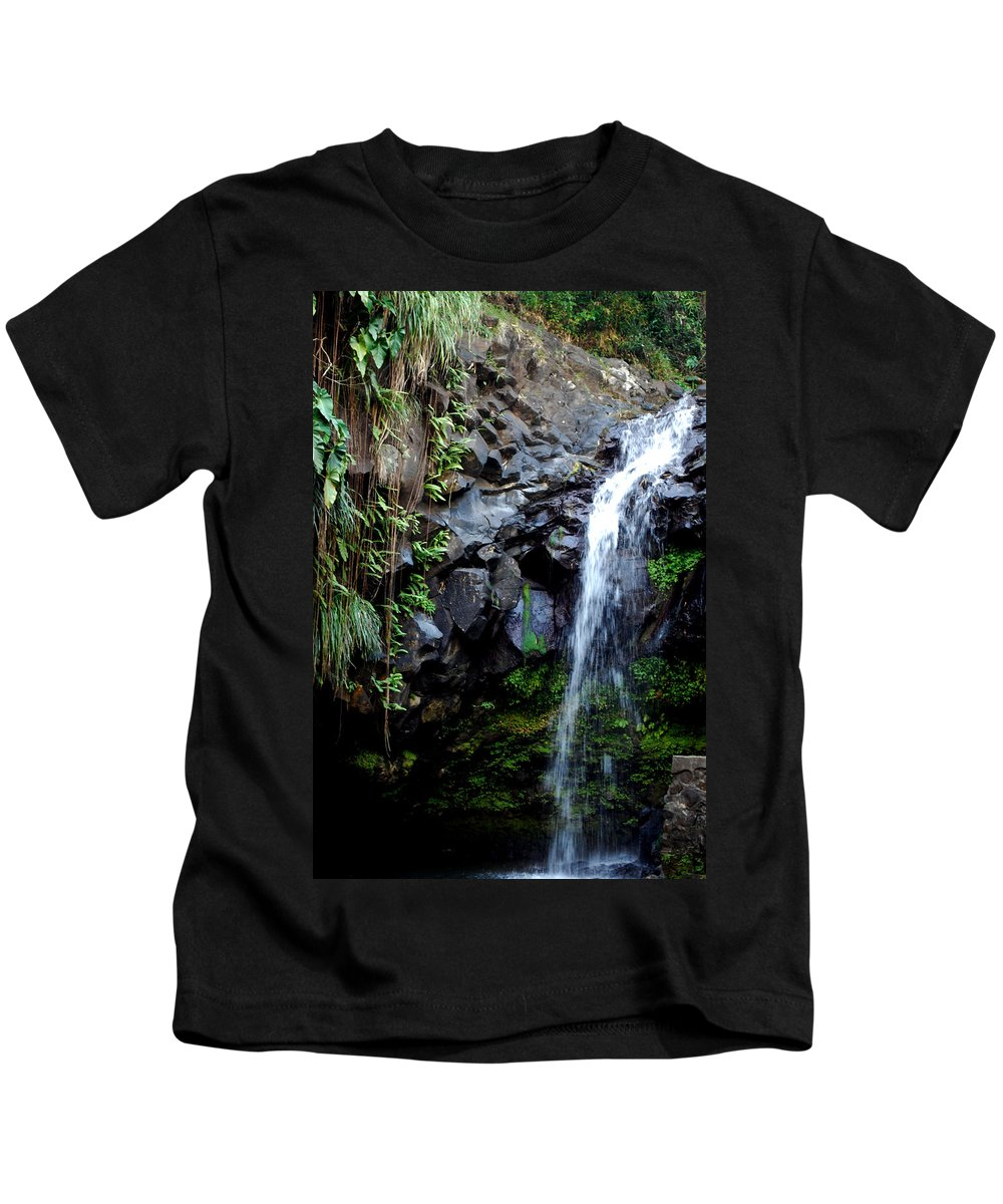 Waterfall Kids T-Shirt featuring the photograph Tropical Waterfall by Gary Wonning