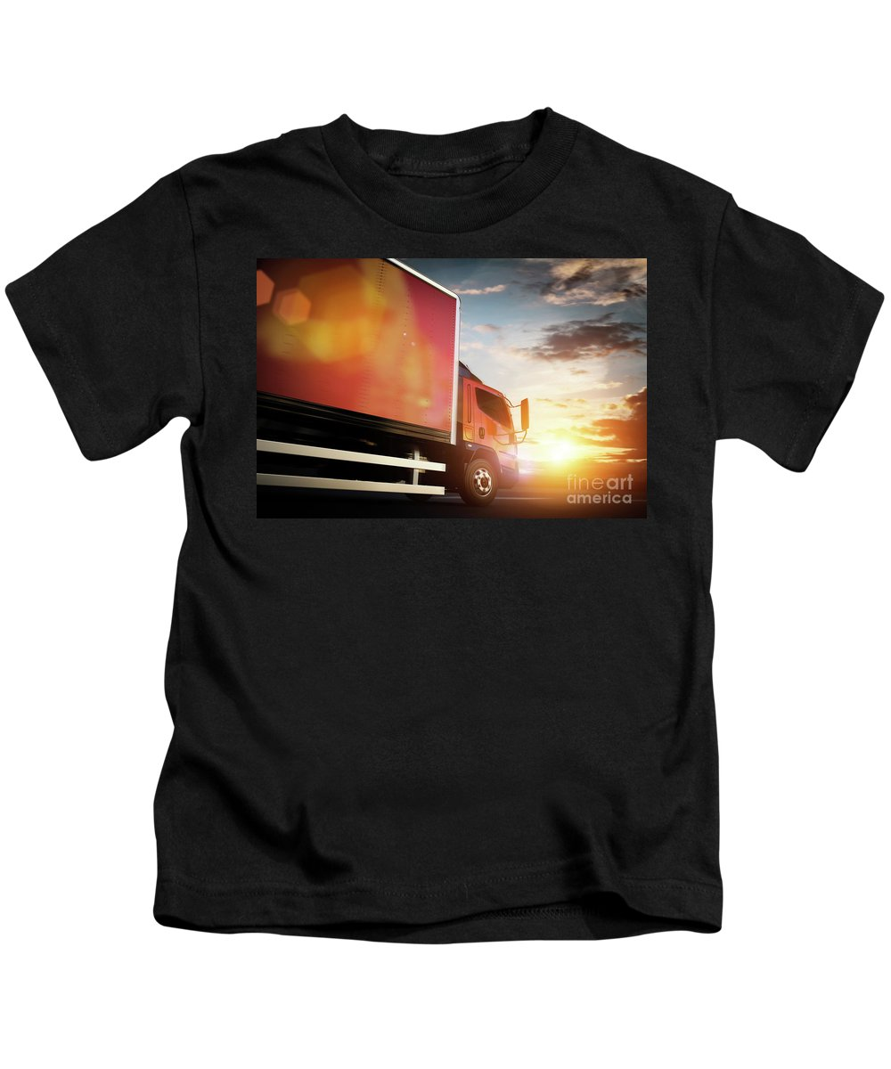 Truck Kids T-Shirt featuring the photograph Truck Speeding On The Highway. Transportation by Michal Bednarek